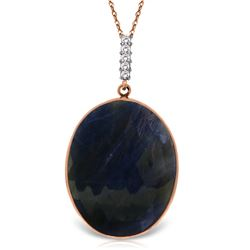 Genuine 20.08 ctw Sapphire & Diamond Necklace Jewelry 14KT Rose Gold - REF-80H3X