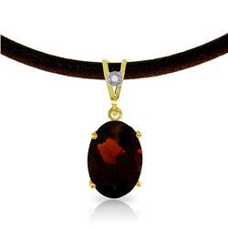 Genuine 7.56 ctw Garnet & Diamond Necklace Jewelry 14KT Yellow Gold - REF-53F8Z