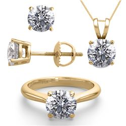 14K Yellow Gold SET 4.0CTW Natural Diamond Ring, Earrings, Necklace - REF-1099X2F-WJ13350