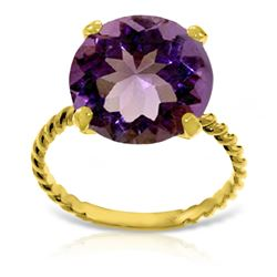 Genuine 5.5 ctw Amethyst Ring Jewelry 14KT Yellow Gold - REF-37Y2F