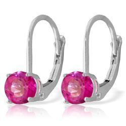 Genuine 1.30 ctw Pink Topaz Earrings Jewelry 14KT White Gold - REF-23F6Z