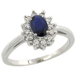 Natural 0.82 ctw Blue-sapphire & Diamond Engagement Ring 10K White Gold - REF-21M5H