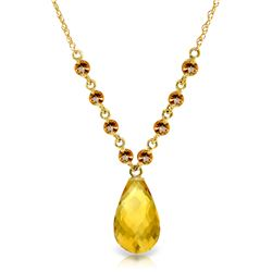Genuine 11.50 ctw Citrine Necklace Jewelry 14KT Yellow Gold - REF-34N7R