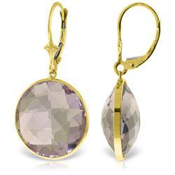 Genuine 36 ctw Amethyst Earrings Jewelry 14KT Yellow Gold - REF-80X4M