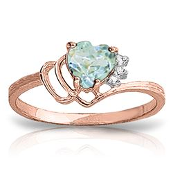 Genuine 0.97 ctw Aquamarine & Diamond Ring Jewelry 14KT Rose Gold - REF-32A3K