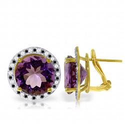Genuine 12.4 ctw Amethyst, White & Black Diamond Earrings Jewelry 14KT Yellow Gold - REF-124R2P