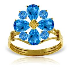 Genuine 2.43 ctw Blue Topaz Ring Jewelry 14KT Yellow Gold - REF-48X3M