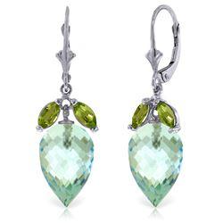 Genuine 23.5 ctw Blue Topaz & Peridot Earrings Jewelry 14KT White Gold - REF-67X9M