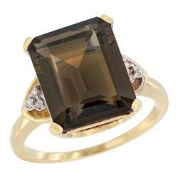 Natural 5.44 ctw smoky-topaz & Diamond Engagement Ring 10K Yellow Gold - REF-32M2H