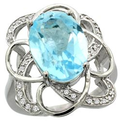 Natural 6.29 ctw blue-topaz & Diamond Engagement Ring 14K White Gold - REF-51Z6Y