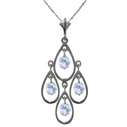 Genuine 1.20 ctw Aquamarine Necklace Jewelry 14KT White Gold - REF-34Y3F