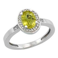 Natural 1.08 ctw Lemon-quartz & Diamond Engagement Ring 10K White Gold - REF-25V2F