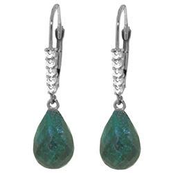 Genuine 17.75 ctw Green Sapphire Corundum & Diamond Earrings Jewelry 14KT White Gold - REF-41M6T