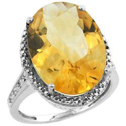 Natural 13.6 ctw Citrine & Diamond Engagement Ring 14K White Gold - REF-75M6H