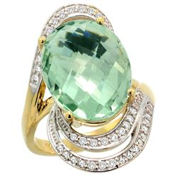 Natural 11.2 ctw green-amethyst & Diamond Engagement Ring 14K Yellow Gold - REF-95W8K