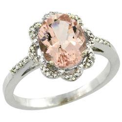 Natural 1.8 ctw Morganite & Diamond Engagement Ring 14K White Gold - REF-47A7V