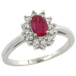 Natural 0.82 ctw Ruby & Diamond Engagement Ring 10K White Gold - REF-38G9M