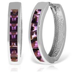 Genuine 1.20 ctw Amethyst Earrings Jewelry 14KT White Gold - REF-56R7P