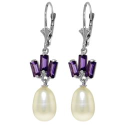 Genuine 9.35 ctw Pearl & Amethyst Earrings Jewelry 14KT White Gold - REF-26P6H