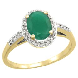 Natural 1.6 ctw Emerald & Diamond Engagement Ring 10K Yellow Gold - REF-37W3K