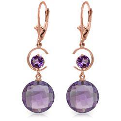 Genuine 11.60 ctw Amethyst Earrings Jewelry 14KT Rose Gold - REF-47W5Y