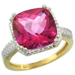 Natural 5.96 ctw Pink-topaz & Diamond Engagement Ring 14K Yellow Gold - REF-42N3G