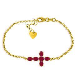 Genuine 1.70 ctw Ruby Bracelet Jewelry 14KT Yellow Gold - REF-66F2Z