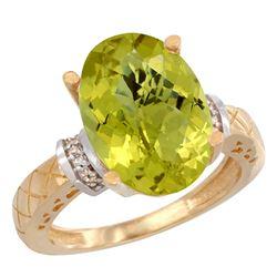 Natural 5.53 ctw Lemon-quartz & Diamond Engagement Ring 14K Yellow Gold - REF-57F8N