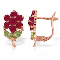 Genuine 2.12 ctw Peridot & Ruby Earrings Jewelry 14KT Rose Gold - REF-42P7H