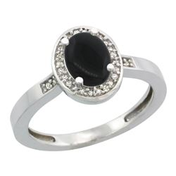 Natural 0.83 ctw Onyx & Diamond Engagement Ring 14K White Gold - REF-30W2K