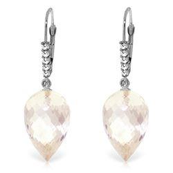 Genuine 24.65 ctw White Topaz & Diamond Earrings Jewelry 14KT White Gold - REF-61W2Y