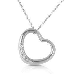 Genuine 0.03 ctw Diamond Anniversary Necklace Jewelry 14KT White Gold - REF-37X4M