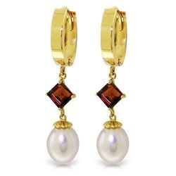 Genuine 9.5 ctw Pearl & Garnet Earrings Jewelry 14KT Yellow Gold - REF-53Z2N