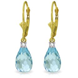 Genuine 4.6 ctw Blue Topaz & Diamond Earrings Jewelry 14KT Yellow Gold - REF-30R2P