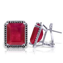 Genuine 14.9 ctw Ruby & Black Diamond Earrings Jewelry 14KT White Gold - REF-201T5A