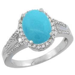 Natural 2.72 ctw turquoise & Diamond Engagement Ring 14K White Gold - REF-61N3G