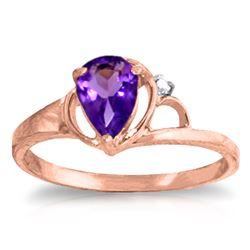 Genuine 0.66 ctw Amethyst & Diamond Ring Jewelry 14KT Rose Gold - REF-31H4X