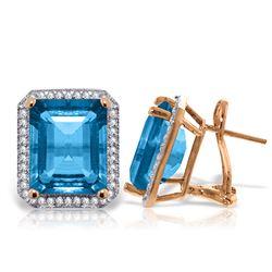 Genuine 15.6 ctw Blue Topaz & Diamond Earrings Jewelry 14KT Rose Gold - REF-136F3Z