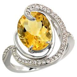 Natural 6.53 ctw citrine & Diamond Engagement Ring 14K White Gold - REF-72F8N