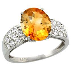 Natural 2.75 ctw citrine & Diamond Engagement Ring 14K White Gold - REF-58W4K