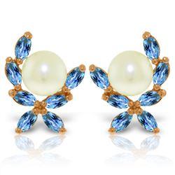 Genuine 3.25 ctw Blue Topaz Earrings Jewelry 14KT Rose Gold - REF-30T2A