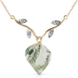Genuine 13.02 ctw Green Amethyst & Diamond Necklace Jewelry 14KT Yellow Gold - REF-43W3Y