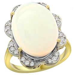 Natural 13.83 ctw opal & Diamond Engagement Ring 14K Yellow Gold - REF-131H4W