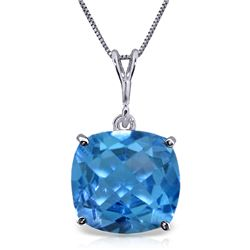 Genuine 3.6 ctw Blue Topaz Necklace Jewelry 14KT White Gold - REF-28P9H