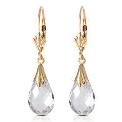 Genuine 6 ctw White Topaz Earrings Jewelry 14KT Yellow Gold - REF-27X8M