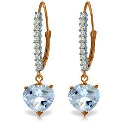 Genuine 3.55 ctw Aquamarine & Diamond Earrings Jewelry 14KT Rose Gold - REF-66Y2F
