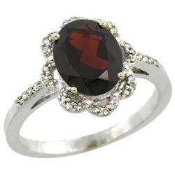 Natural 1.85 ctw Garnet & Diamond Engagement Ring 14K White Gold - REF-39R4Z