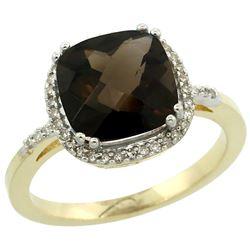 Natural 4.11 ctw Smoky-topaz & Diamond Engagement Ring 10K Yellow Gold - REF-34G3M