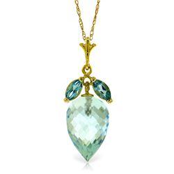 Genuine 11.75 ctw Blue Topaz Necklace Jewelry 14KT Yellow Gold - REF-37N2R