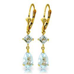 Genuine 4.5 ctw Aquamarine Earrings Jewelry 14KT Yellow Gold - REF-54M5T